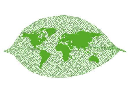 venation: World map on green vein leaf, vector illustration