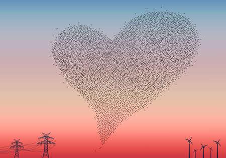El amor está en el aire, multitud de pájaros en forma de corazón en el cielo, ilustración vectorial Ilustración de vector
