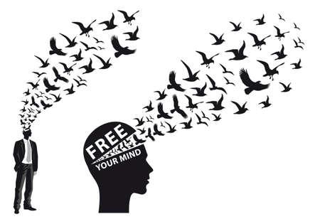silueta de hombre de negocios con los pájaros que vuelan, ilustración