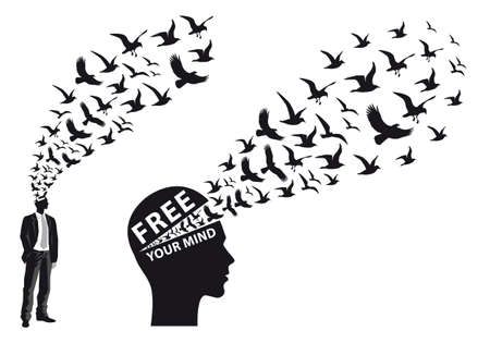 cerebro blanco y negro: silueta de hombre de negocios con los pájaros que vuelan, ilustración