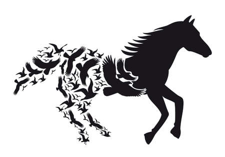 Black horse silhouette with flying birds, illustration