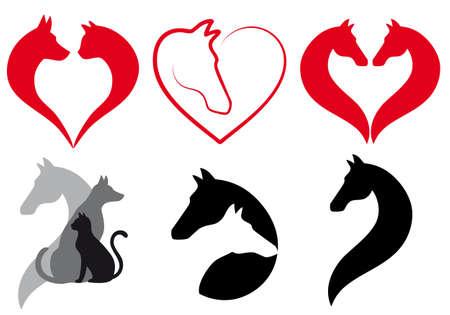 Kat, hond, paard hart pictogrammen, liefde dier icon design set Stock Illustratie