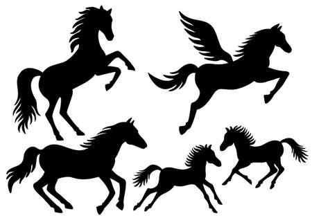 horses running: Black horses, running, jumping, flying silhouettes set Illustration