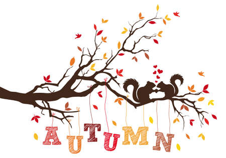 Autumn tree branch with colorful leaves and squirrels, vector illustration