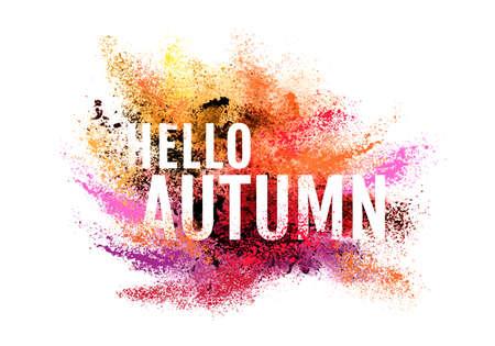 powder: Autumn colorful particle explosion, powder paint cloud, vector over white background
