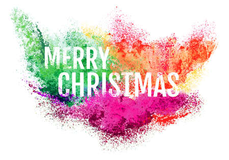 Merry Christmas particle explosion, powder paint cloud, vector over white background