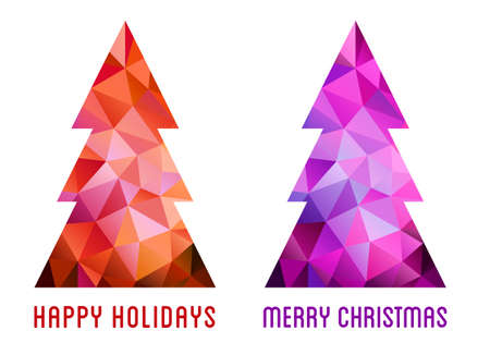 low poly: Low poly Christmas trees, abstract, geometric Xmas card, polygonal pattern, vector