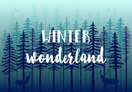 fir trees: Blue winter forest with fir trees, deer and birds, vector background illustration Illustration