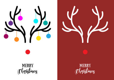 red nose: Simple, modern Christmas cards with red nose reindeer Rudolph and antlers, vector illustration Illustration