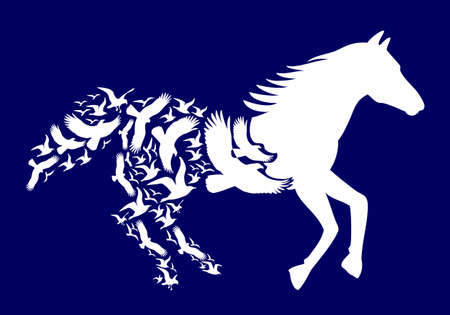 air: White horse with flying birds on dark blue background,  illustration