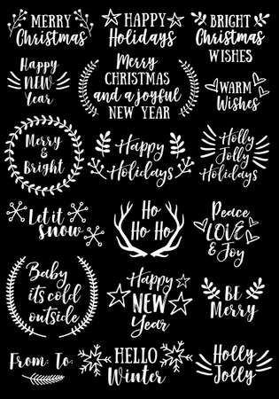 animal silhouette: Christmas and New Year text overlays and graphic design elements for cards.