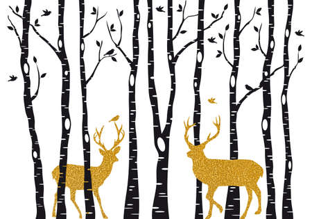 Christmas card with golden reindeer in birch trees forest on white backround, vector illustration