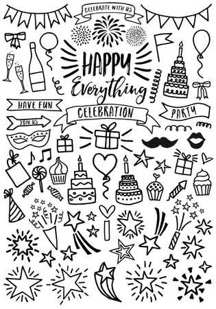 Célébration, fête, anniversaire, griffonnage de Saint-Valentin, ensemble d'éléments de conception graphique vectorielle Vecteurs