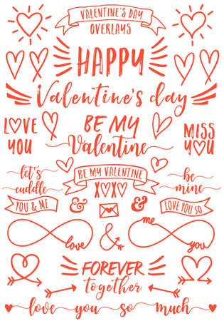 Valentines day text overlays and hand drawn hearts, set of vector design elements Illustration