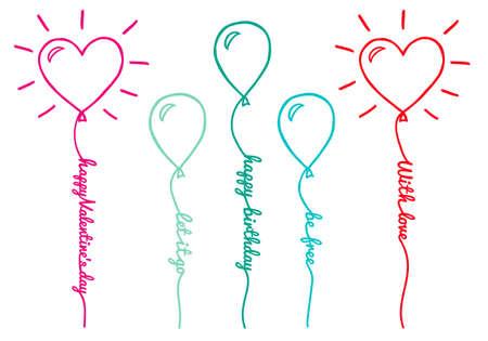 Ballons mit Textzeile, Satz von Hand gezeichnet Vektor-Design-Elemente