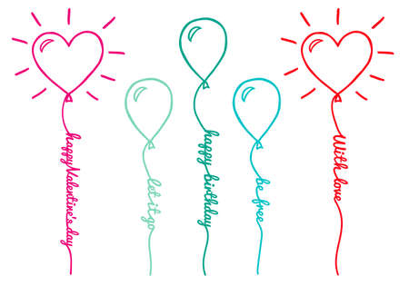let on: Balloons with text line, set of hand drawn vector design elements
