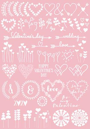 Conception de coeur floral pour la Saint-Valentin, mariage, nouveau bébé, ensemble d'éléments dessinés dessinés à la main Vecteurs