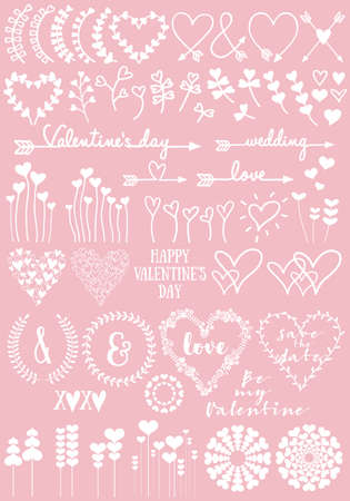 Floral heart designs for Valentines day, wedding, new baby, set of hand drawn vector design elements Illustration