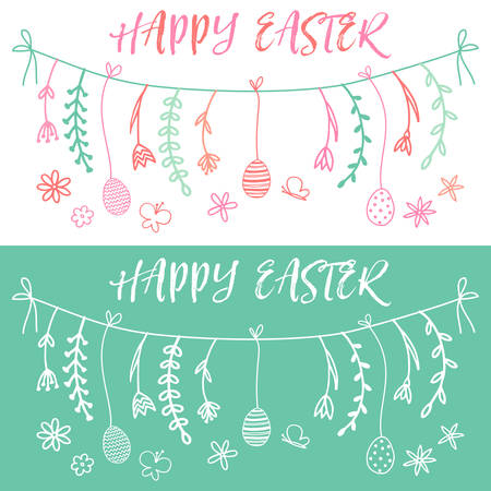 hand set: Happy Easter banner with hand drawn vector design elements