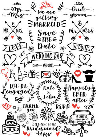 Hand drawn wedding doodles and overlays, set of vector design elements