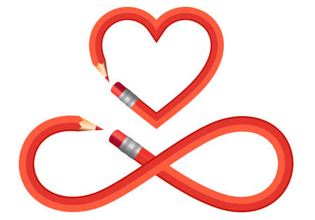 Red pencil heart and infinite sign, infinite symbol, set of vector graphic design elements