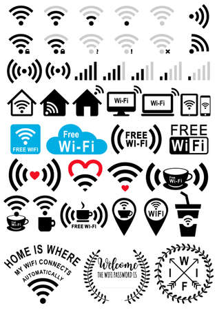 digital: Wifi signs, wi-fi icons, coffee and free wifi zone, set of vector graphic design elements