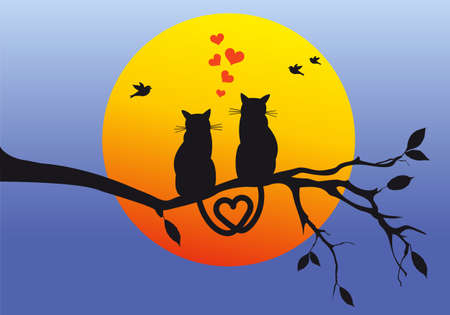 Cats sitting on tree branch watching the sunset, vector illustration.