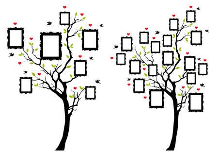Family tree with blank picture frames, vector illustration. 向量圖像