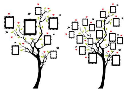 Albero genealogico con cornici vuote, illustrazione vettoriale.