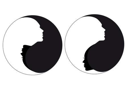 陰陽のシンボルと男と女