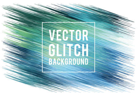 monitor: Abstract blue and green glitch background vector illustration