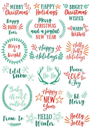 Christmas and New Year text overlays and graphic design elements, vector set Ilustracja