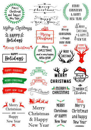 Christmas text overlays for cards, banners, tags, set of vector graphic design elements Ilustracja