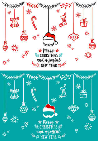 Christmas cards, set of vector design elements