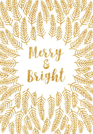 Christmas card with gold glitter fir tree branch frame over white background