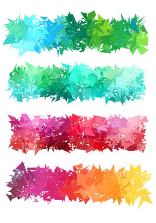 Abstract colorful geometric banner set illustration.