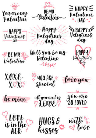 Love lettering for Valentines day cards, set of vector design elements Ilustracja