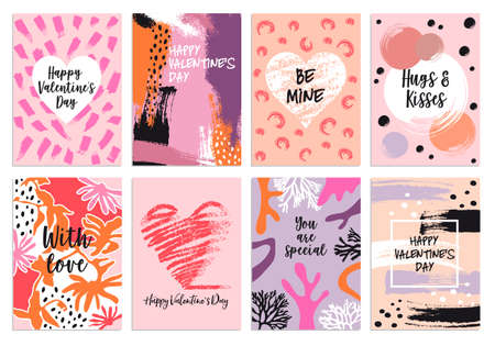 Valentines day s card templates with abstract hand drawn pattern, set of vector graphic design elements Ilustracja