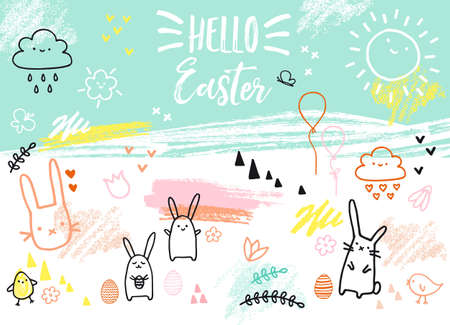 Easter card with bunnies, eggs, flowers, hand-drawn graphic design elements, vector illustration