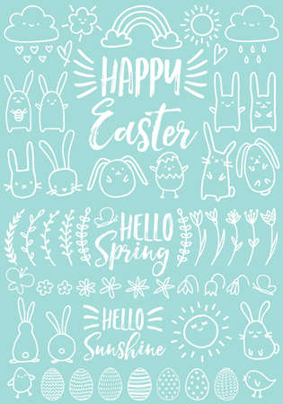 Cute white Easter doodles, bunnies, eggs and hand drawn flowers, set of vector design elements