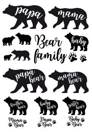 Mama bear, papa bear, baby bear silhouettes, set of vector graphic design elements