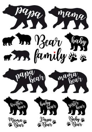 Ours maman, ours papa, silhouettes d'ours bébé, ensemble d'éléments de conception graphique vectorielle Banque d'images - 95046882