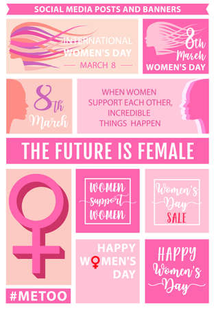 Womens day social media posts, headers and banners, background templates, set of vector graphic design elements