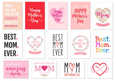Mothers day cards with hand-drawn graphic design elements