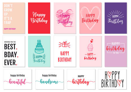 Birthday cards with hand-drawn graphic design elements, vector set