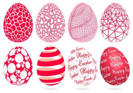 3D Easter eggs with abstract geometric pattern, set of vector graphic design elements Ilustracja