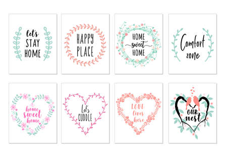 Home sweet home art prints, quotes wall art, set of vector graphic design elements