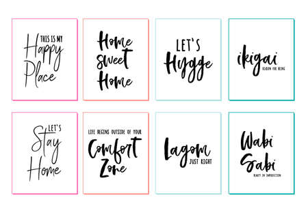 Home sweet home, happy place, comfort zone, hygge, lagom, wabi sabi, wall art prints, vector set Ilustracja