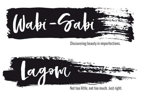 Wabi Sabi, Lagom, life concept, paint stroke background, set of vector graphic design elements