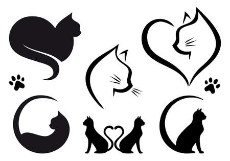 Cat designs with heart, set of vector graphic design elements